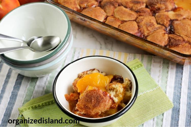 Fresh Peach Cobbler in bowl