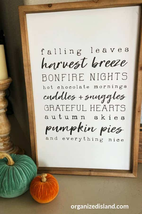 Fall sign decocrated