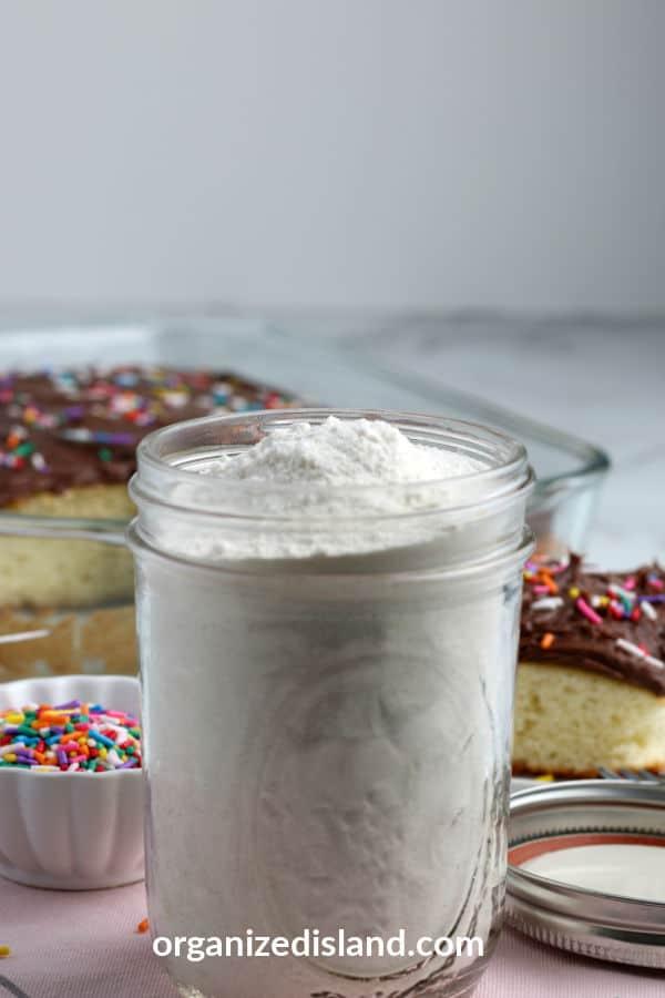 Homemade Cake Mix recipe in jar