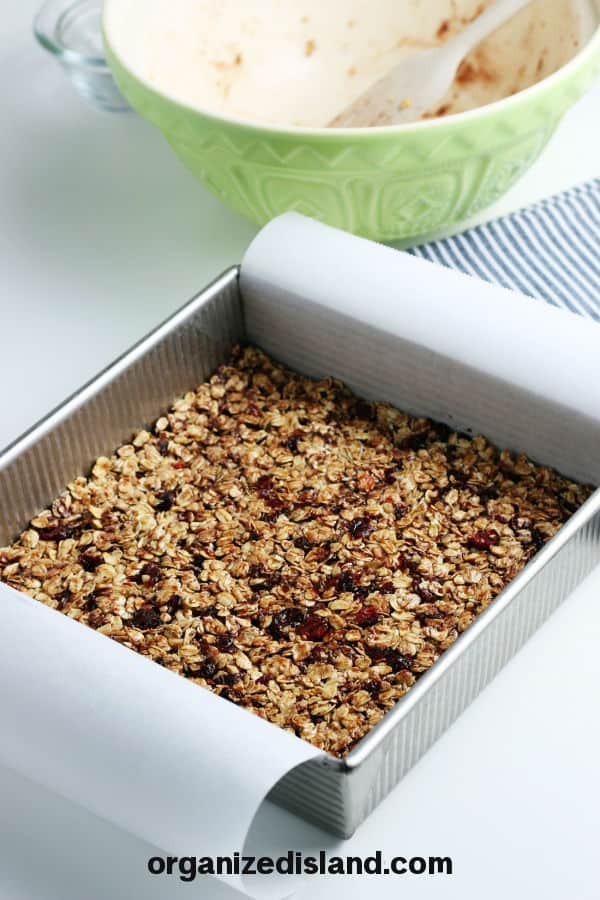 Homemade Granola Bars in pan