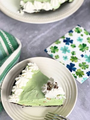 Pistachio Pie with Ice Cream
