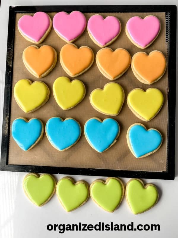 heart cookies on cookie sheet