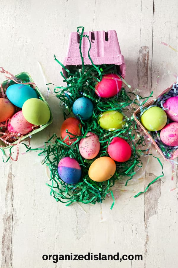 Dying Easter Eggs with food coloring