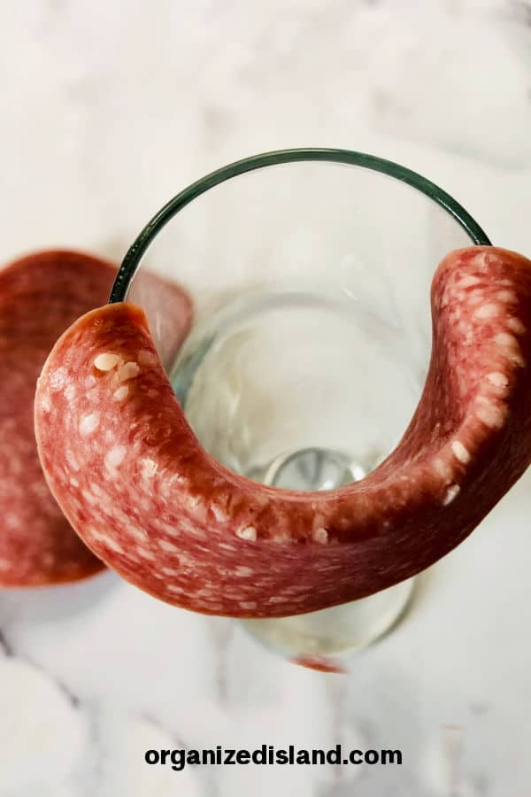 Salami Roses with Glass