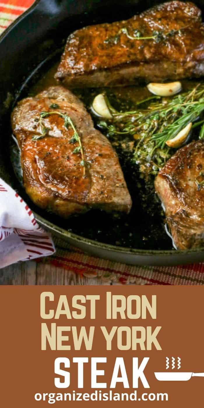 New York Steak in cast iron skillet