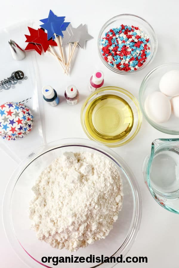 Ingredients forFourth of July Cupcakes