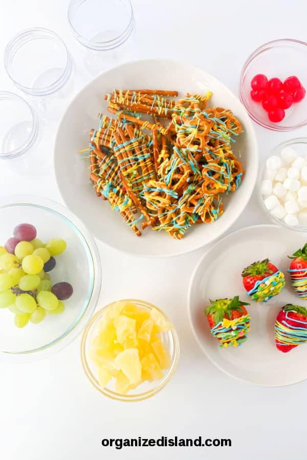 Jarcuterie dessert ingredients