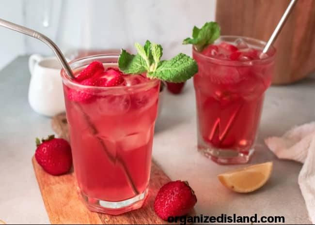 Strawberry Sweet Tea side by side