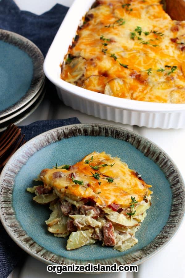 Scalloped Potatoes and Ham in casserole dish