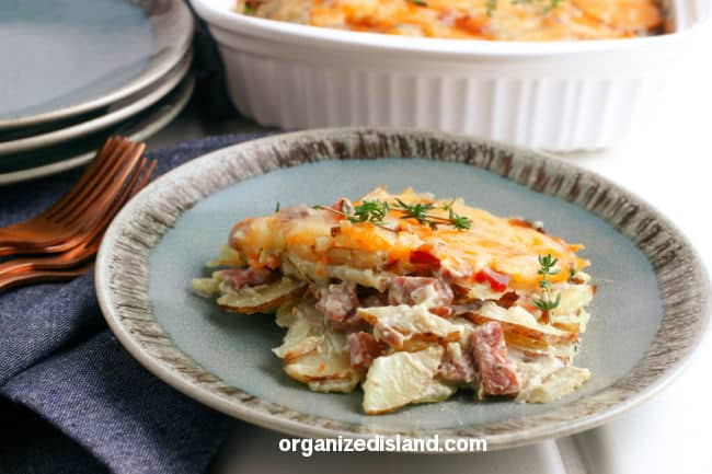 Scalloped Potatoes and Ham on plate