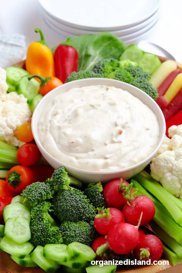 Vegetable Dip surrounded by vegetables