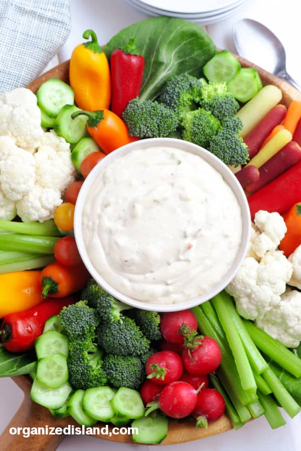 Veggie Dip with vegetables around the bowl