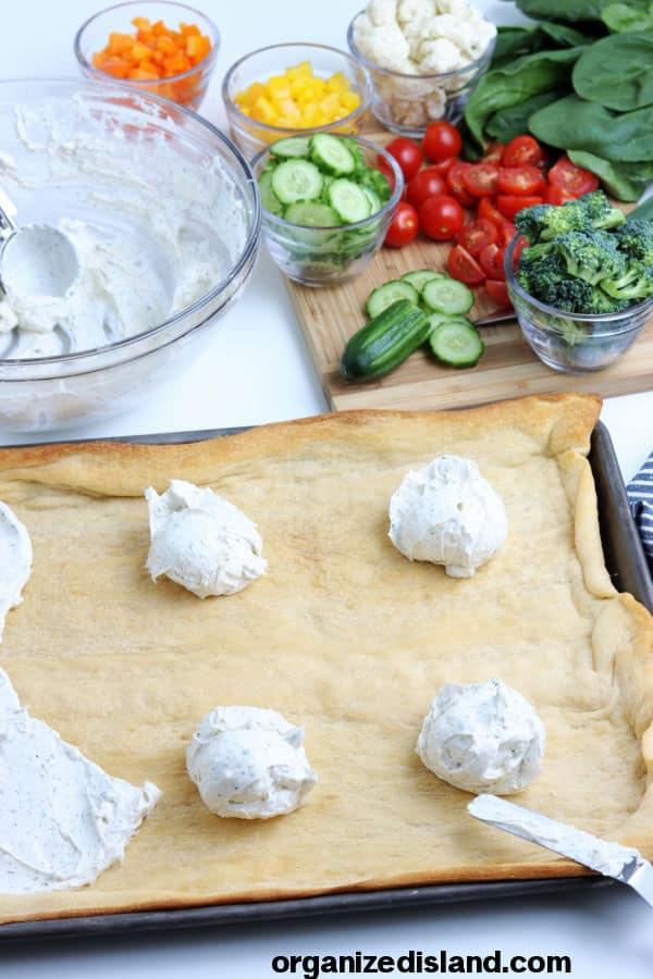 Making A Cream Cheese pizza