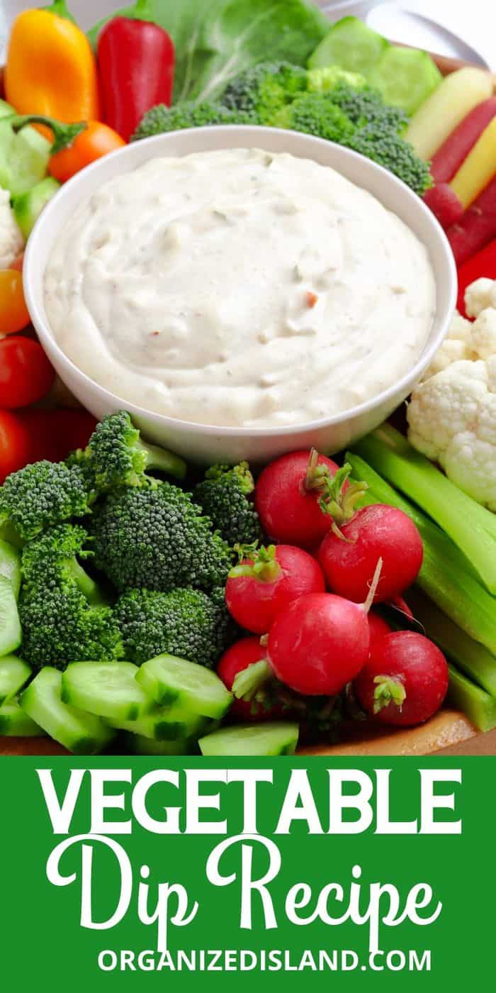Vegetable Dip with carrots, celery and radish.