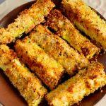 Air Fryer Zucchini Sticks on a plate