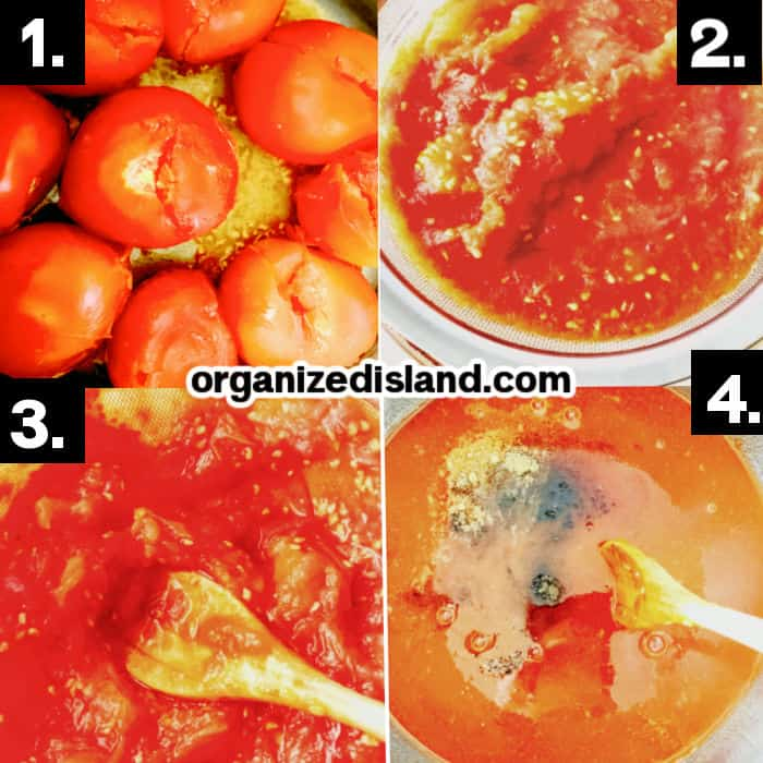 Steps How To Make Homemade Tomato Ketchup - dooking tomatoes in a pot, andmashing