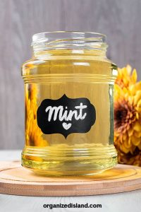mint syrup in jar