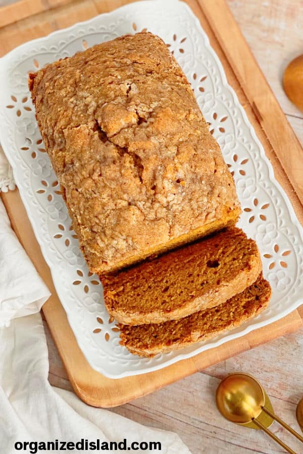 simple pumpkin bread on plate