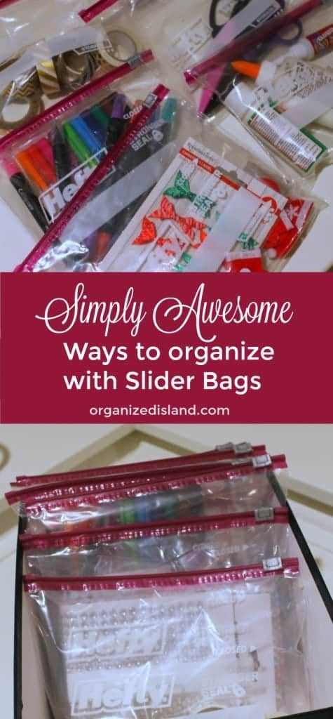 Clear slider bags are great for organizing and storage. See these tips to use them to organize efficiently.