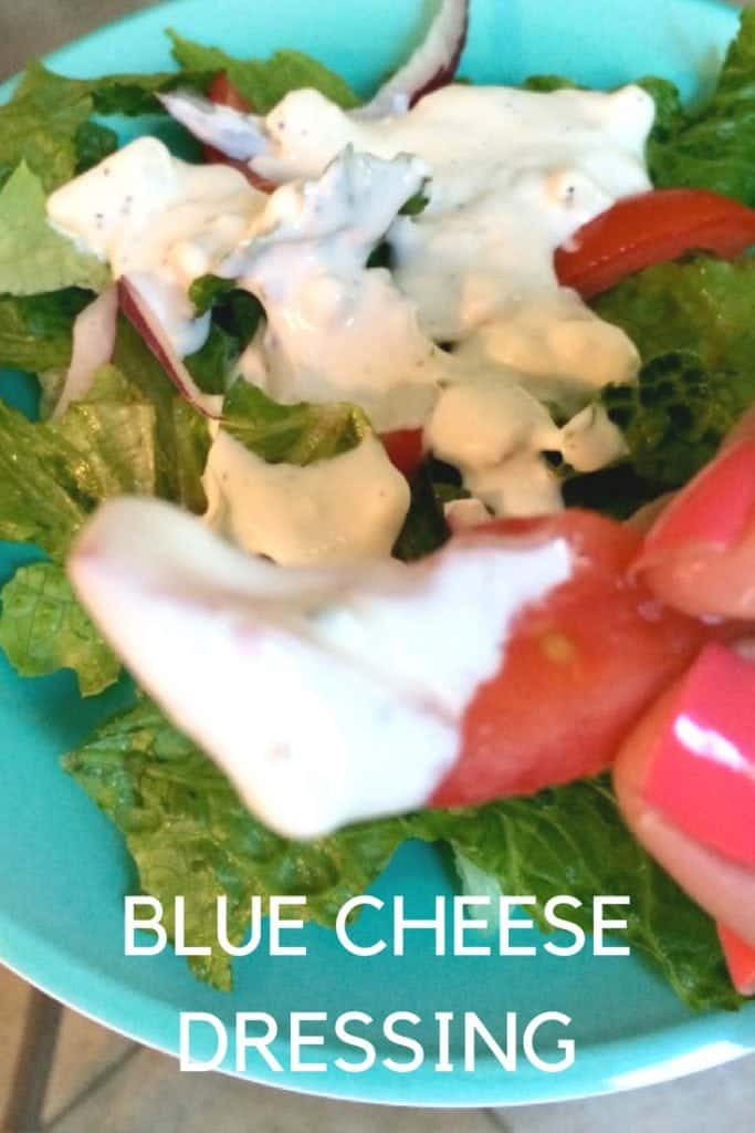This tasty blue cheese dressing is easy to make and wonderful on salads or as a dip.