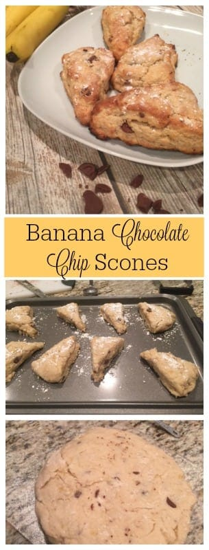These banana chocolate scones go great with a cup of coffee or tea and are wonderful for a tea party too!