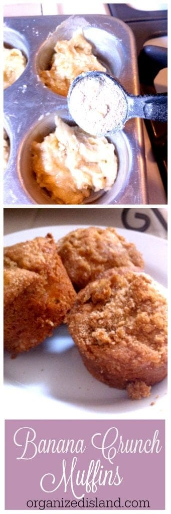 Easy and tasty Banana Crunch Muffins recipe.