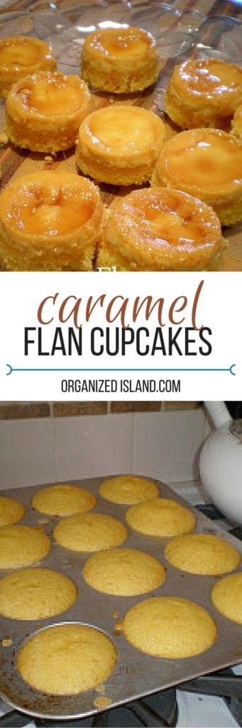 Caramel Flan Cupcakes - little custard cakes drizzled in a caramel sauce.