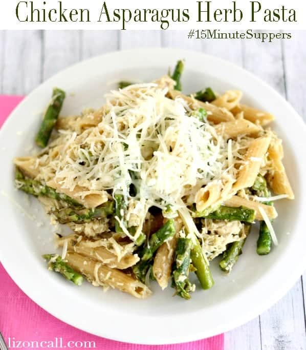 Chicken Asparagus Herb Pasta. Link to recipe on this week's Weekly Menu on Embellishmints.com