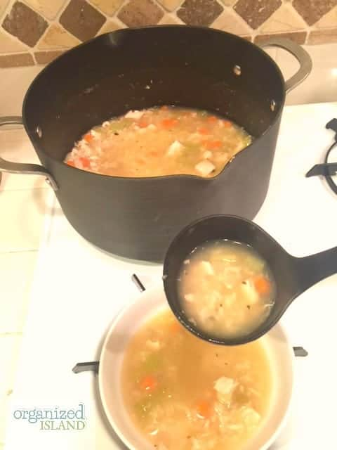 Homemade chicken and rice soup like grandma used to make. Perfect for a cold winter day!
