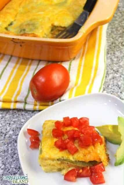 Chili Relleno Casserole with Tomatoes is so good and easy to make!