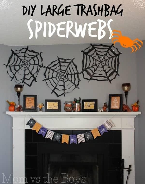 DIY-trashbag-spiderweb