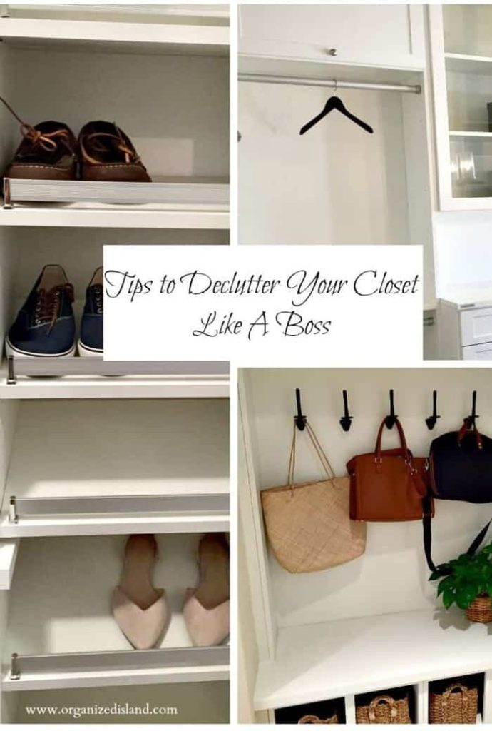 Tips from a productivity manager on decluttering the closet. Methods to help you decide what to keep and what to get rid of.
