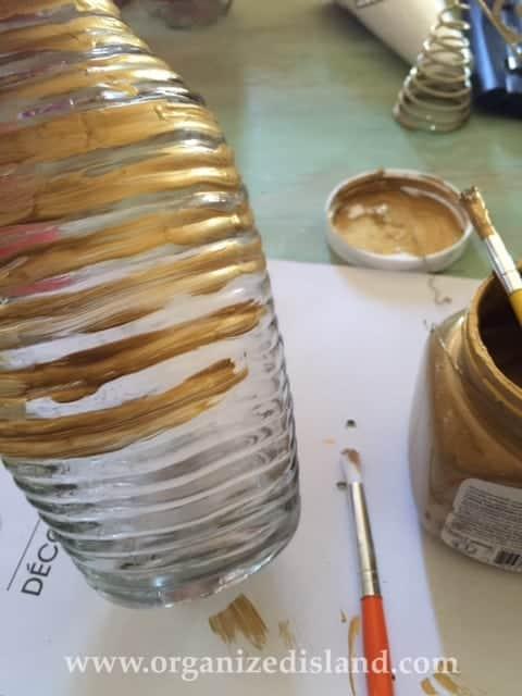 Adding paint to dollar store vase
