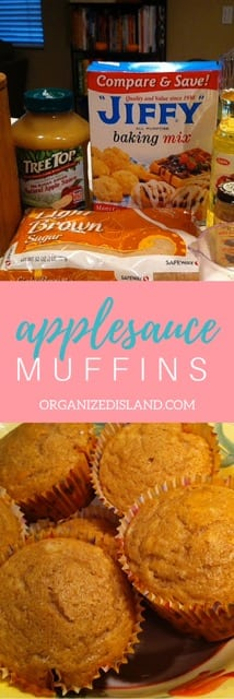 These easy apple muffins are made with applesauce which saves time and tastes good too! Perfect for a morning snack or lunch box snack.
