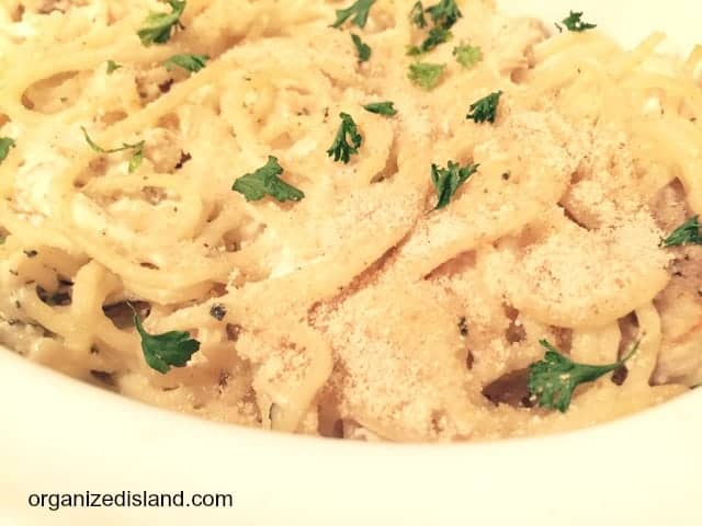 Warm up this season with this easy Chicken Tetrazzini recipe. Mushrooms, chicken and cheese, swirled in pasta.