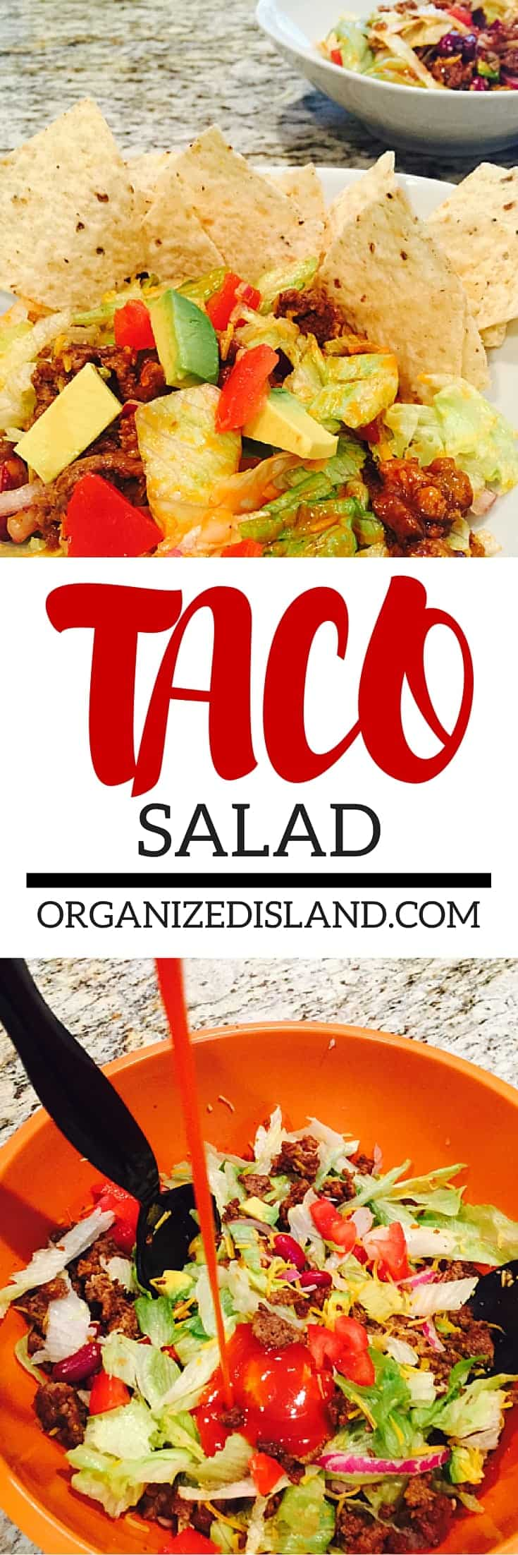 This easy and tasty taco salad is a great way to use farmers' market produce into your meal and you can make it ahead of time too!