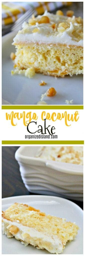 If you are looking for a great dessert to make quickly, this Mango Coconut cake is wonderful!!