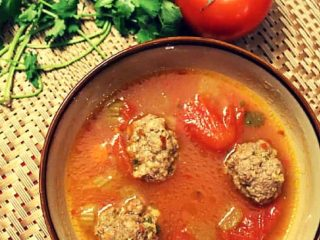 Meatball Soup with homemade meatballs, tomatoes and spices is comfort food at its best.