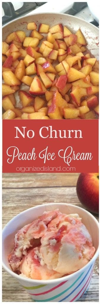 This easy no churn peach ice cream recipe is a tasty way to incorporate the sweetness of fresh peaches. Ready in just a few hours without an ice cream maker!