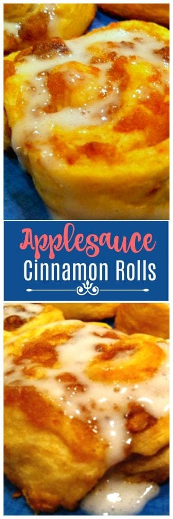 These Applesauce Cinnamon rolls only have 5 ingredients. They taste great and are ready in minutes!
