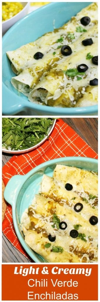 Light & creamy chili verde enchiladas recipe. Easy weeknight idea and so good!