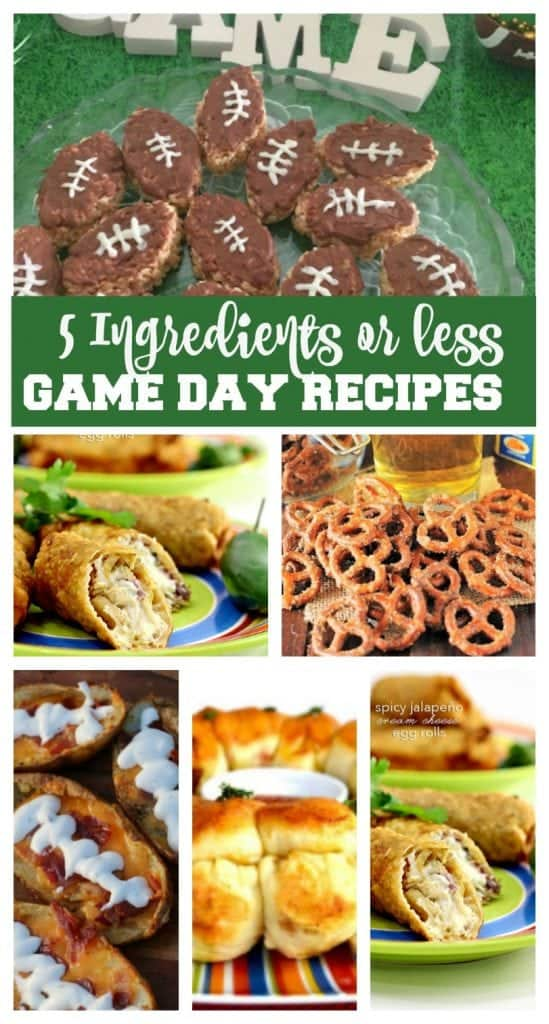 Easy Super Bowl Game Recipe Ideas - all have 5 ingredients or less!