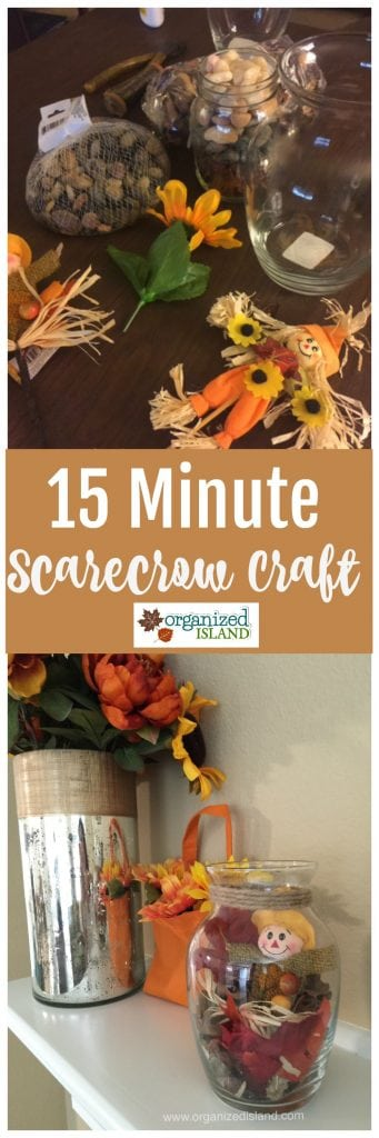 This simple scarecrow craft idea just takes a few minutes. You can find most of these supplies at the dollar store!