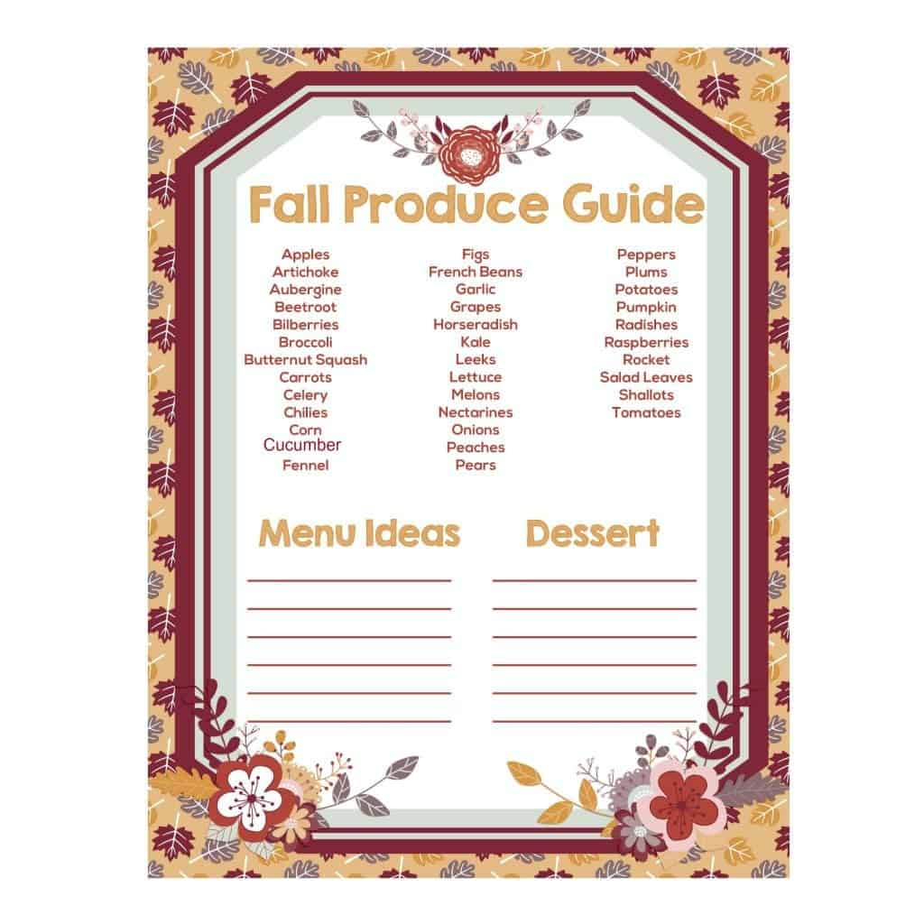 Free fall produce guide printable to help take advantage of the great produce that is in season and plan your meals around these foods.