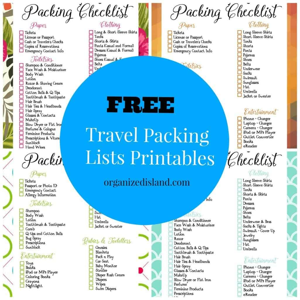 Going on a trip? These free printable packing lists will have you prepared and ready to go!
