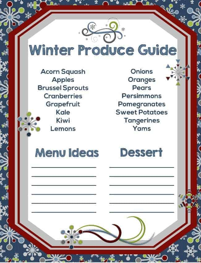 Free printable winter produce gulde