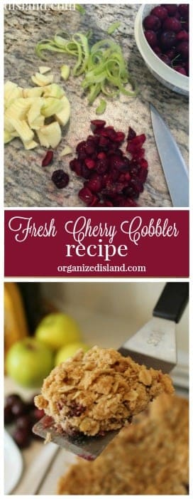 Cherry and apples collide in this tasty Cherry Cobbler recipe. Light and crunchy on its own or lovely with whipped topping or ice cream!