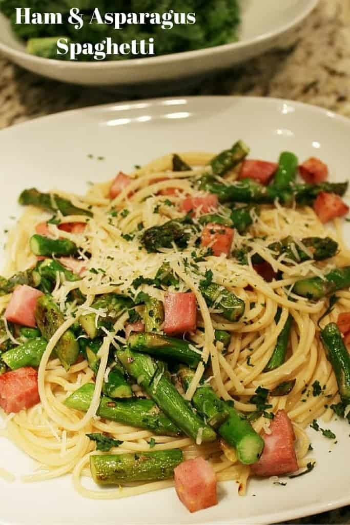 Fresh asparagus, spaghetti, ham and spices come together for tasty dinner (and a great way to use leftovers)!