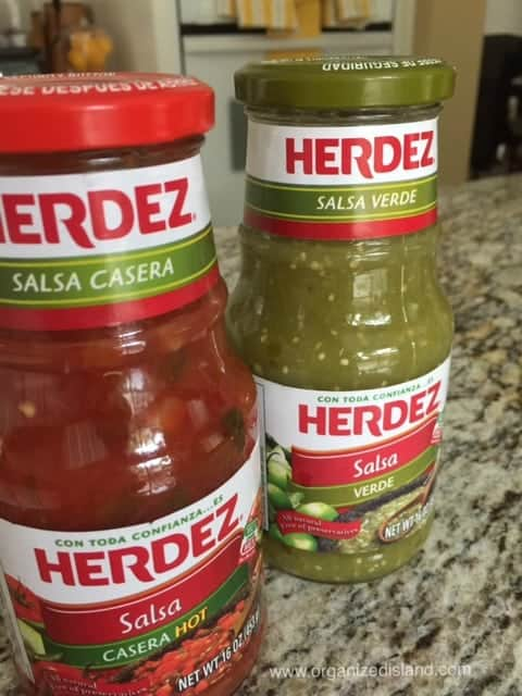 Herdez Salsas make dinners like these easy Chili Verde enchiladas so quick to make! Love that they save me time!