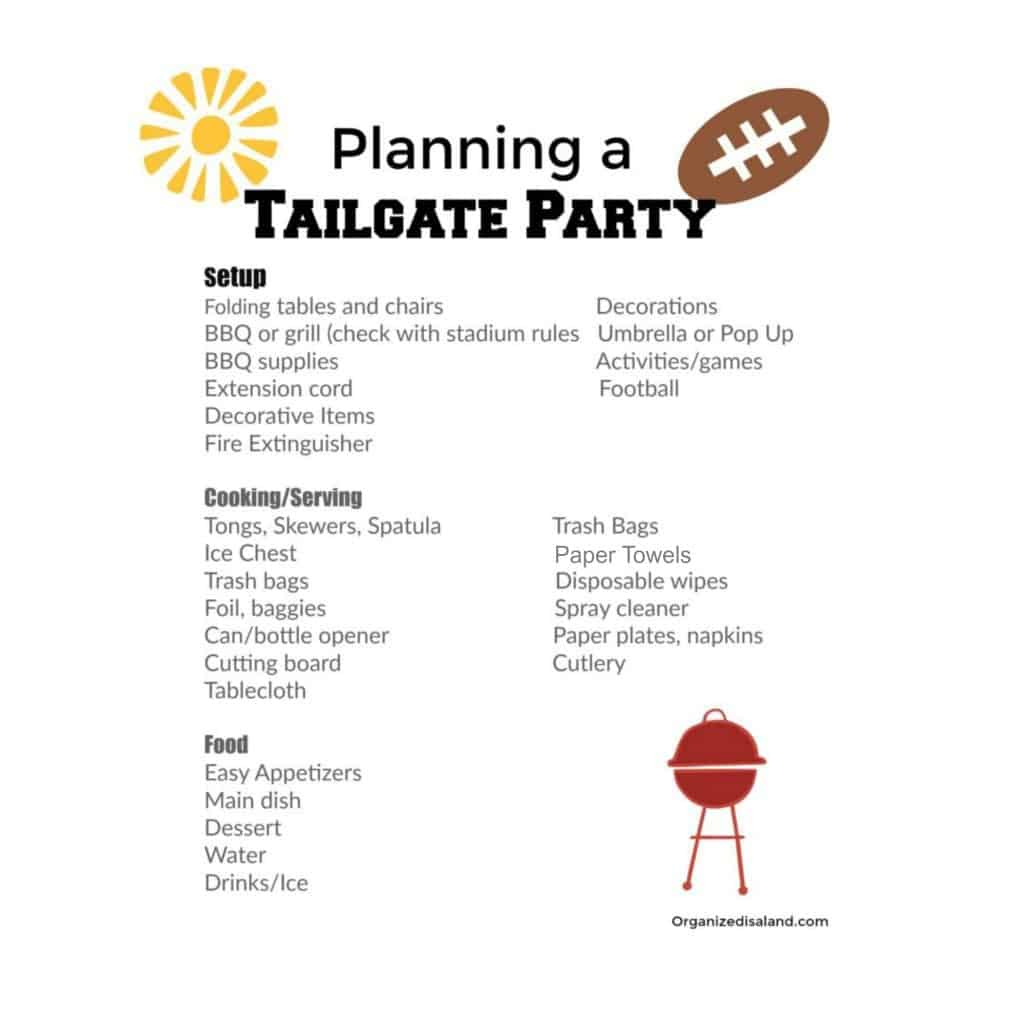 Planning A Tailgate party? See my planning tips, menu suggestions and printable checklist!